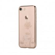 Devia Crystal Lotus Case - поликрабонатов кейс за iPhone 8 Plus, iPhone 7 Plus (с кристали Сваровски) (златист)