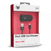 Just Wireless CC Dual microUSB Car Charger 2.1A 1