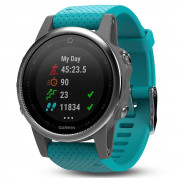 Garmin Fenix 5S - Multisport GPS Watch for Fitness, Adventure and Style (white with turquoise band) 1