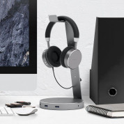 Satechi Aluminium Headphone Stand - дизайнерска алуминиева поставка за слушалки с USB изходи (тъмносива) 4