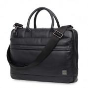 Knomo Foster Leather Laptop Briefcase - луксозна кожена чанта за преносими компютри до 14 инча (черен) 1