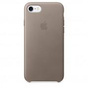 Apple iPhone Leather Case - оригинален кожен кейс (естествена кожа) за iPhone 8, iPhone 7 (светлосив)