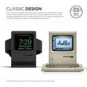 Elago W3 Watch Stand - силиконова винтидж поставка в стила на Apple Macintosh (1984) за Apple Watch (черна) 1