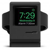 Elago W3 Watch Stand - силиконова винтидж поставка в стила на Apple Macintosh (1984) за Apple Watch (черна)