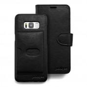 Prodigee Wallegee+ Case - кожен калъф, тип портфейл с отделящ се кейс и поставка за Samsung Galaxy S8 Plus (черен) 3