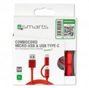 4smarts ComboCord USB to Micro-USB + Type-C 100cm (red) 3