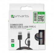 4smarts ComboCord USB to Micro-USB + Type-C 200cm (gray) 3