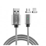 4smarts Magnetic USB Cable GravityCord Cable + Lightning & Micro-USB Connectors - кабел с магнитен накрайник с Lightning и MicroUSB конектори (сив)
