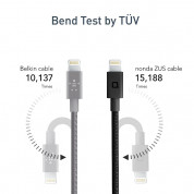 Nonda ZUS 180 Lightning Kevlar Cable - Lightning кабел с оплетка от кевлар за iPhone, iPad и устройства с Lightning порт 1