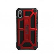 Urban Armor Gear Monarch Case - удароустойчив хибриден кейс за iPhone XS, iPhone X (червен-черен)