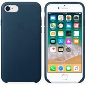 Apple iPhone Leather Case - оригинален кожен кейс (естествена кожа) за iPhone 8, iPhone 7 (син) 2