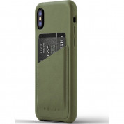Mujjo Leather Wallet Case - кожен (естествена кожа) кейс с джоб за кредитна карта за iPhone XS, iPhone X (маслинен)