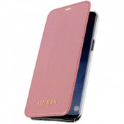 Guess Iridescent Book Case - кожен калъф, тип портфейл за Samsung Galaxy S8 Plus (розов)