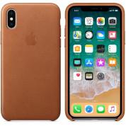Apple iPhone Leather Case - оригинален кожен кейс (естествена кожа) за iPhone X (светлокафяв) 1