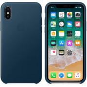 Apple iPhone Leather Case - оригинален кожен кейс (естествена кожа) за iPhone X (космическо синьо) 2