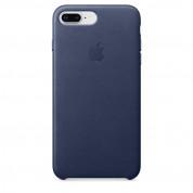 Apple iPhone Leather Case - оригинален кожен кейс (естествена кожа) за iPhone 8 Plus, iPhone 7 Plus (тъмносин)