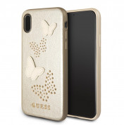 Guess Studs and Sparlkes Butterfies Leather Hard Case - дизайнерски кожен кейс за iPhone XS,iPhone X (златист)