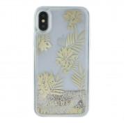 Guess Glitter Palm Spring Hard Case - дизайнерски кейс с висока защита за Apple iPhone XS, iPhone X (златист-прозрачен) 2