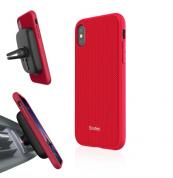 Evutec Aergo Ballistic Nylon - хибриден TPU кейс и магнитна поставка за iPhone X (червен)