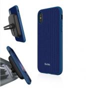 Evutec Aergo Ballistic Nylon - хибриден TPU кейс и магнитна поставка за iPhone XS, iPhone X (син)