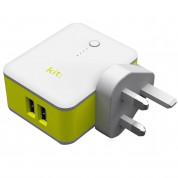 Kit 2in1 International Travel Charger with 3000mAh Powerbank - захранване за ел. мрежа с адаптори за цял свят и външна батерия (бял) 1