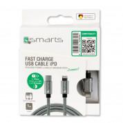 4smarts USB-C to Lightning Cable 1m. - USB-C кабел към Lightning за Apple устройства с Lightning и/или устройства с USB-C (сив) 2
