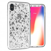 iPaint Glitter Flakes Case for iPhone XS, iPhone X (silver)