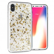 iPaint Glitter Flakes Case for iPhone XS, iPhone X (gold)