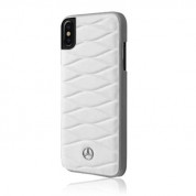 Mercedes-Benz Pattern III Leather Hard Case - кожен кейс (естествена кожа) за iPhone XS, iPhone X (бял)