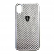 Ferrari Heritage Real Carbon Hard Case - Designer Carbon Case for iPhone XS, iPhone X (Silver)