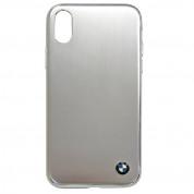 BMW Brushed Aluminium Soft Case - дизайнерски алуминиев кейс с TPU рамка за iPhone XS, iPhone X (сребрист)