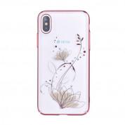 Devia Crystal Lotus Case - поликрабонатов кейс за iPhone XS, iPhone X (с кристали Сваровски) (червен)