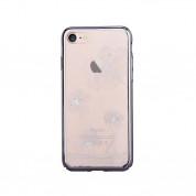 Comma Crystal Flora 360 Case - поликарбонатов кейс за iPhone 8 Plus, iPhone 7 Plus (с кристали Сваровски) (черен)