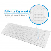 Macally 104 Key Full-Size USB Keyboard with Short-Cut Keys - USB клавиатура оптимизирана за MacBook (бял)  7