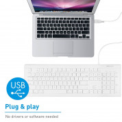Macally 104 Key Full-Size USB Keyboard with Short-Cut Keys - USB клавиатура оптимизирана за MacBook (бял)  2