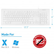 Macally 104 Key Full-Size USB Keyboard with Short-Cut Keys - USB клавиатура оптимизирана за MacBook (бял)  1