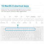 Macally 104 Key Full-Size USB Keyboard with Short-Cut Keys - USB клавиатура оптимизирана за MacBook (бял)  6