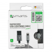 4smarts MFI RapidCord Lightning Data Cable 2m. - сертифициран lightning кабел (200 см.) за iPhone, iPad и iPod с Lightning вход (сив) 2