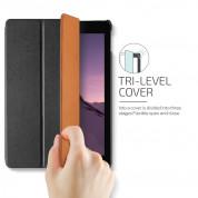 Verus Saffiano K1 - кожен калъф и поставка за iPad Pro 10.5 (черен) 2