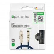 4smarts 6in1 ComboCord Cable - качествен многофункционален кабел за microUSB, Lightning и USB-C стандарти (син) 5