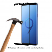 Eiger 3D Glass Case Friendly Curved Tempered Glass - калено стъклено защитно покритие с извити ръбове за целия дисплея на Samsung Galaxy S9 (черен-прозрачен) 4