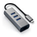 Satechi USB-C 2-in-1 Ethernet & USB Hub - 3-портов USB хъб и Gigabit Ethernet порт за MacBook и устройства с USB-C (тъмносив) 2