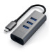 Satechi USB-C 2-in-1 Ethernet & USB Hub - 3-портов USB хъб и Gigabit Ethernet порт за MacBook и устройства с USB-C (тъмносив) 3