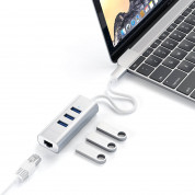 Satechi USB-C 2-in-1 Ethernet & USB Hub - 3-портов USB хъб и Gigabit Ethernet порт за MacBook и устройства с USB-C (сребрист) 5