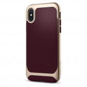 Spigen Neo Hybrid Case - хибриден кейс с висока степен на защита за iPhone XS, iPhone X (тъмночервен-златист) 3