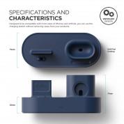 Elago Trio Charging Hub - силиконова поставка за зареждане на iPhone, Apple Watch и Apple AirPods (тъмносиня) 2