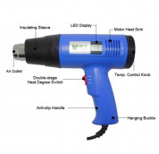 Best Hot Air Heat Gun 1600W BST-8016 with Digital Display Handhold and Temperature Adjustable Hot Air Blower  7