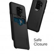 Spigen Slim Armor Case CS - хибриден кейс с отделение за кр. карти и най-висока степен на защита за Samsung Galaxy S9 Plus (черен) 2