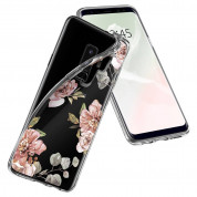 Spigen Liquid Crystal Blossom Flower Case - тънък силикнов (TPU) калъф за Samsung Galaxy S9 Plus (прозрачен) 3