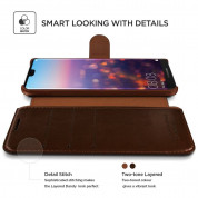 Verus Dandy Layered Case - кожен калъф, тип портфейл за Huawei P20 Lite (тъмнокафяв) 2